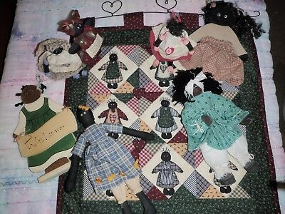 """""""reduced In Price""""  Bulk Lot Of Country Craft Dolls +Patchwork  Wall Hanging"""