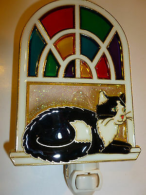 """Stain Glass Style - """"CAT IN THE WINDOW """"    NIGHT LIGHT"""