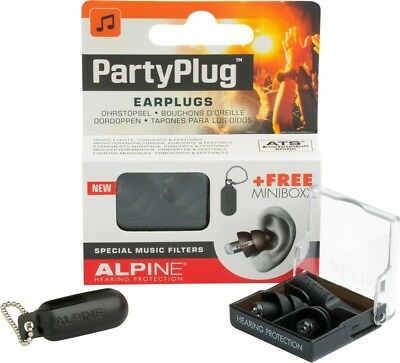 (Black) Alpine PartyPlug Earplugs Hearing Protection Music Filters #1 In Europe