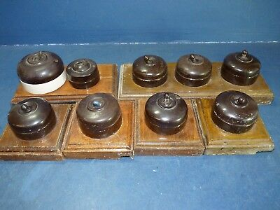 Bakelite Light Switches x9 With Pattress Vintage Antique