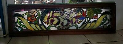 "EXTRAORDINARY ANTIQUE AMERICAN STAINED GLASS JEWELED WINDOW 49.5""x 16"" SALVAGE"
