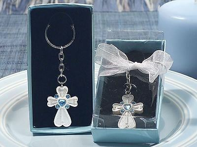 6 Cross Keyring Keychain With Crystals - Christenings Confirmation Favours Gifts