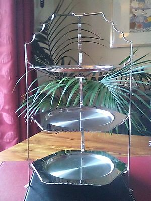 A Vintage 3 TIER FOLDING CAKE Stand-old Hall