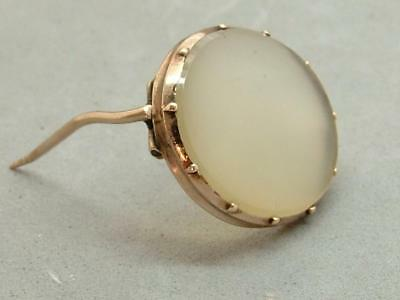 Antique Georgian Tiny Oval Agate & Gold Brooch/Lace Pin