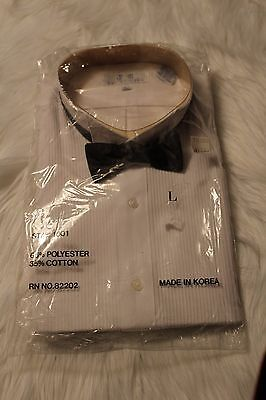 J C Collections VTG Men's White Pleated Tuxedo Shirt w/Black Satin Bow Tie Sz L