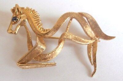 14 K GOLD Mid-Century MODERNIST HORSE BROOCH w/ SAPPHIRE - Stylized!