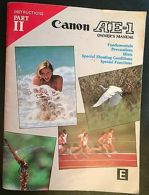 Canon Ae-1 0Wner's Manual 40 Pages