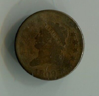 1809 Coronet Large cent Almost good to good no damage