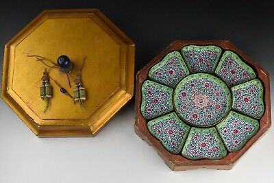 19th Century Chinese Serving Tray w/ Enamel Dividers & Peeking Glass Finial