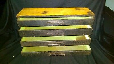 Vtg Antique wood Box with 4 Drawers MADE FROM OLD FISHING CRATE