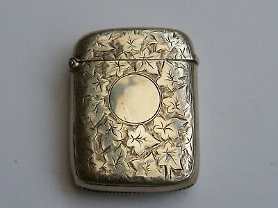 Antique-Victorian-Solid Silver Pocket Vesta Case-Ivy Leaf Engraved-B'ham-c1894