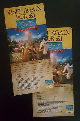 Warwick Castle Tickets X 2 for £1 anyday half term,  valid till 31st Dec 2017