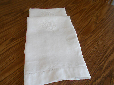 Pair of Vintage Monogrammed  Damask Linen Bath Towels Acanthus Oak Leaf Pattern