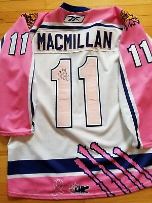 Cole Macmillan Moncton Wildcats Game Worn Hockey Jersey Pink In The Rink Qmjhl