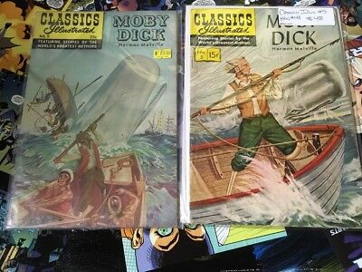 Classics Illustrated Moby Dick #5 Two Different Covers & Issues Of #5