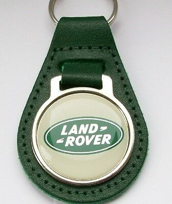 Land Rover Keyring Green Leather Keyring, Key Chain, Key Fob