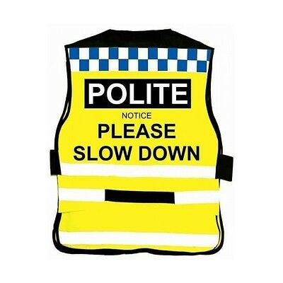 Equisafety POLITE Waistcoat - PLEASE SLOW DOWN - Horse Riding