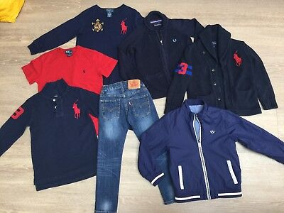 Boys Large Designer Bundle: Fred Perry, Ralph Lauren, Levi, Mayoral, Age 5-6 Yrs