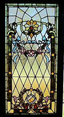 Victorian Floral Stained Glass Window W Jewels
