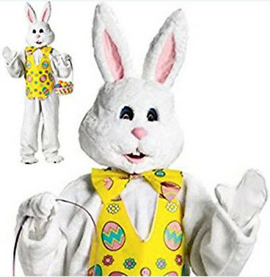 Bunny Deluxe Costume with Easter Vest and Mascot Head