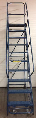 Rolling Ladder 10 -Step with Hand Rail Gillis Saf-T