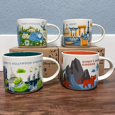 NEW Disney Starbucks Walt Disney World YAH MUGS 4 Parks, Magic, Epcot, DHS & DAK