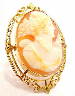 14k Solid Gold Cameo Pendant Brooch Art Nouveau Coral Shell Pin Free Shipping