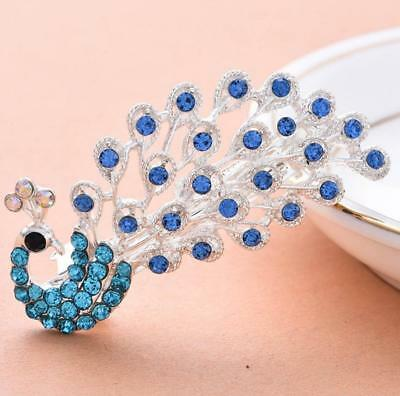 Blue Rhinestone Crystal Vintage Style Peacock Ponytail Holder Barrette Hair Clip