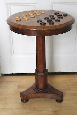 Superb Antique 19Th Century Walnut Games Topped Pedestal Table