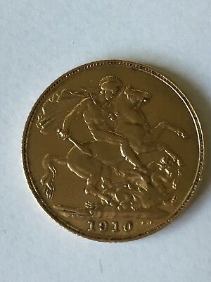 Gold Sovereign Edward V11 1910 Very Fine