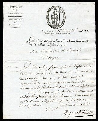 French Revolution -15 Thermidor an XI  ( 1803) - Letter of the Sub-Prefect  ....