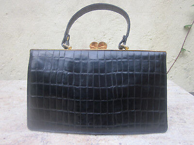 Stunning, vintage Francesco Biasia top handled bag in black moc croc leather