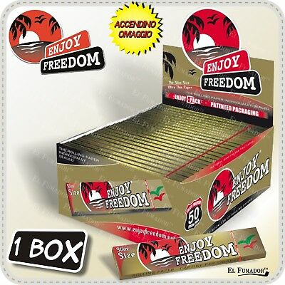 CARTINE ENJOY FREEDOM GOLD SLIM LUNGHE BOX 50 LIBRETTI 1600 Fogli King Size Oro