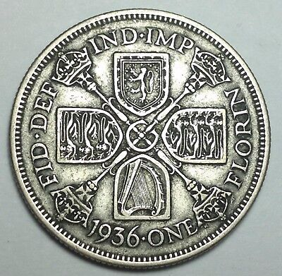1936 Great Britain 1 Florin silver coin, UK