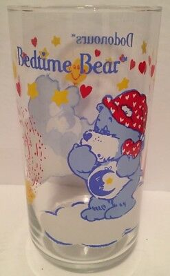 Vintage 1980's Care Bears Bedtime Bear Drinking Glass Cup Mug RARE