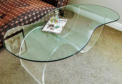 Vintage Mid Century Modern Coffee Table Thick Glass Top w/ wave lucite base