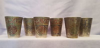 6 Vintage Brass & Coloured Enamel Inlay Islamic Indian Arabic Cups Beakers