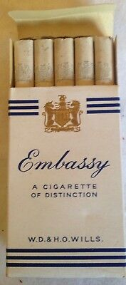 vintage collectable wills embassy 10 cigarette  packet + contents