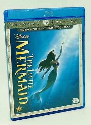 Little Mermaid 3D, The (Blu-ray 3D+Blu-ray+DVD+Digital, 2013) NEW and OOP!