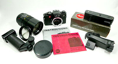 Leica R4 Camera, 180 f2.8 Elmarit-R Lens, Motor Winder, Booklets, and Grips
