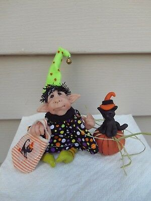 OOAK Primitive Halloween WITCH troll cat pumpkin art clay doll