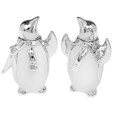 Pair of Cute Small White And Silver Art Deco Penguin`s Decoration Ornament Xmas