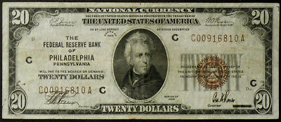 $20 1929 FEDERAL RESERVE BANK of PHILADELPHIA, PA VF CIRCULATED