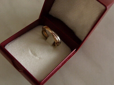 Alliance Bague OR 18 Carats style Trinity 3 ors Anneaux entrelacés Gold Ring T51