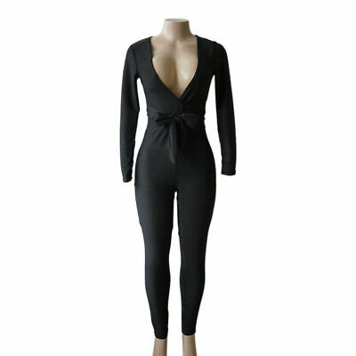 Women Deep V-Neck Skinny Bandage Long Sleeve Empire Casual Jumpsuit Rompers(I-J