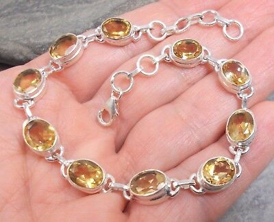 925 Silver and CITRINE Bracelet B659~Silverwave*uk Jewellery