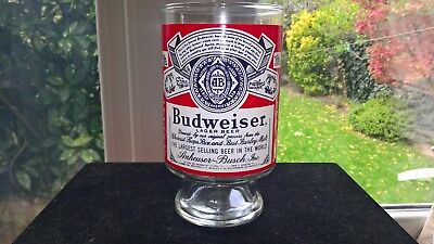 Rare Large Uncommon Shape Budweiser Lager Beer Glass (unused)