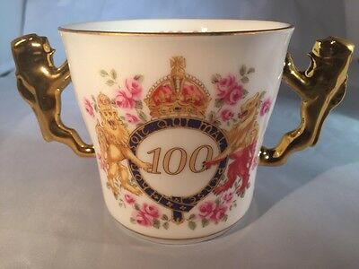 ROYAL ALBERT SOUVENIR TWO HANDLED MUG QUEEN MOTHER 100 YEARS Certificate Boxed