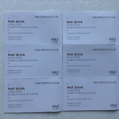 Marks and Spencer hot drink vouchers x 6