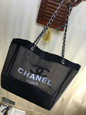 CHANEL VIP Gift Black Mesh Shopping Travel Tote bag Leather Gold & Silver  Chain